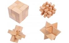 Dřevěné hlavolamy - 4 ks