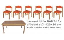 Set přírodní stůl obdélník + barevné židličky Bambi