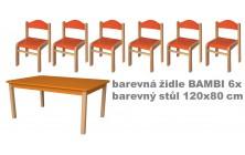 Set přír. stůl obdélník v.58 cm+bar. židličky 34cm