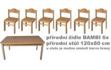 Sety přírodní stůl obdélník + židličky Bambi