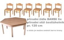 Set přír. stůl 6úhelník v.52 cm + židličky v.30cm