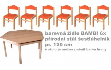 Set přír. stůl šestiúhelník v.46 cm+bar. židličky 26cm