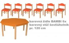 Set bar. stůl 6úhelník v.58 cm+bar. židličky 34cm